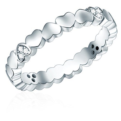 Rafaela Donata Damen-Ring in Herz-Form Sterling Silber Zirkonia weiß - Feundschaftsringe Herzen mit Stein weiss