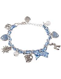 "SIX ""Oktoberfest"" Damen Armschmuck, silbernes Armband, Karomuster in Blau Weiß, Herz, Brezel (440-112)"
