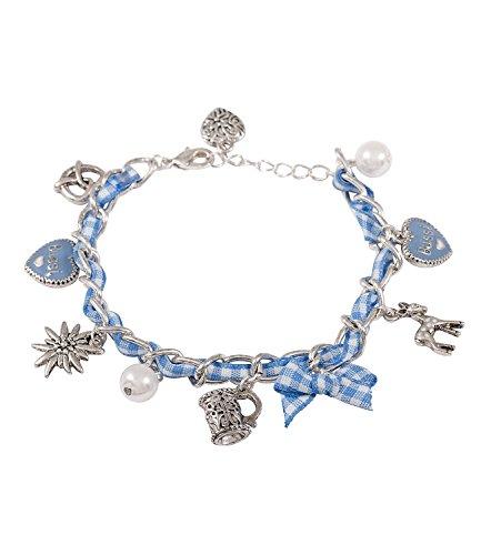 "SIX ""Oktoberfest Damen Armschmuck, silbernes Bettel Armband, mit Brezel und co, blau weiß (440-112)"