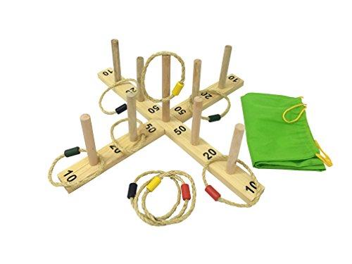 Funmate Cuerda de grandes anillos w / Bolsa de transporte de madera Ring Toss Aro la juego, clavijas de madera juego de tirar w / 9 aros