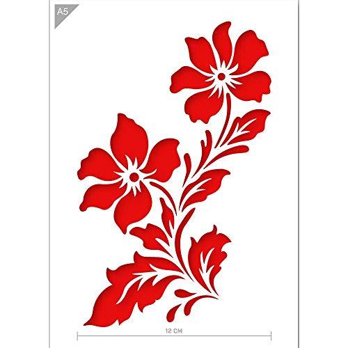 QBIX Blume Schablone - Wildblumen Schablone - Zwei Blumen Schablone - A5 Größe - Wiederverwendbare Kinder freundlich DIY Schablone zum Malen, Backen, Basteln, Wand, Möbel