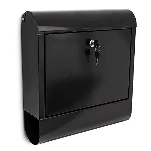 Relaxdays Briefkasten mit Zeitungsfach, Postkasten aus Eisen, Abschließbar, HBT: ca. 41,5 x 38 x 12 cm, schwarz
