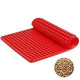 SveBake Silikon Backmatte - Dauerbackmatte mit Noppenstruktur Antihaftbeschichtung Backblech Backpapie 468er Hundekekse Hundeleckerlies, 40x29cm, Rot