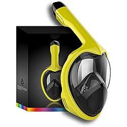 Tooklanet Masques de Snorkeling panoramique Plein Visage Facile à respirerpour Les Enfants Adultes, HD Mirror Panorama 180 ° Vue Masque Plongeur, Anti-Brouillard Anti-Fuite,GoPro Compatible.