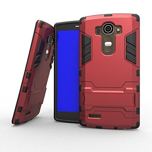 LG G4 cas Lantier [peau de maturité de son style] 2 en 1 combo robuste à double couche [cas grave] effets de robots de glissement hybride amovibles de couverture avancée armure de silicone claquant du LG G4 rouge