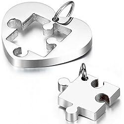 Cupimatch Collar Mujer Corazón Rompecabezas Juego de 2 Pcs Collar para Parejas Acero Inoxidable Regalo para Amor Buena Suerte Plateado Collares de Mejores Amigas (Plateado)