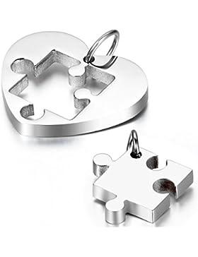 cupimatch Freundschaftsketten Herz Form Paar Halskette , Edelstahl Puzzle Anhänger mit 2 Halsketten 54 cm / 45...