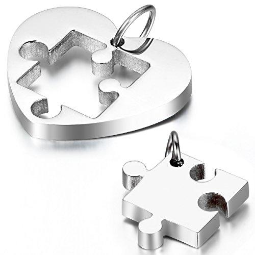 Cupimatch 2 Pieza Acero Inoxidable Colgante Collar Rompecabezas Corazón Heart Amor Love Pareja Conjunto Hombre Mujer con cadena 54cm y 45cm