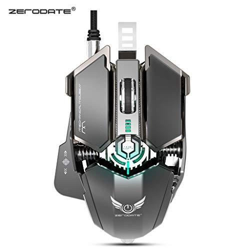 ZERODATE 4000DPI USB-Kabel Competitive Gaming Mouse 10 programmierbare Tasten Mechanische Makrodefinition Programmierung Gamer-Maus (Schwarz) -
