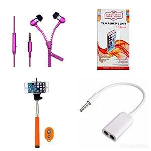 KONARRK 4 in 1 Combo of Selfie Stick Orange, Zipper Earphones Pink, Handsfree Splitter White and Tempered Glass for INTEX PACE