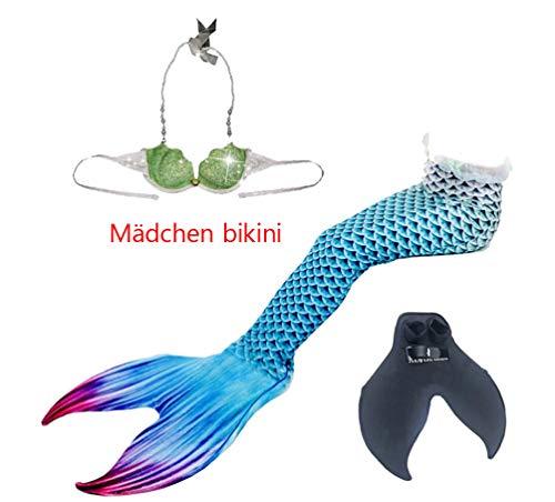 Brinny Meerjungfrau Flosse Zum Schwimmen Kinder Mädchen Meerjungfrauenflosse Meerjungfrauenschwanz mit Flosse - Blau 135cm