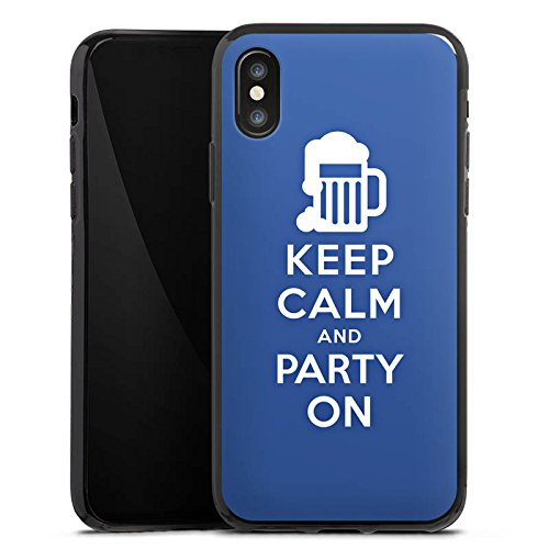 Apple iPhone X Silikon Hülle Case Schutzhülle Keep Calm Party Bier Silikon Case schwarz
