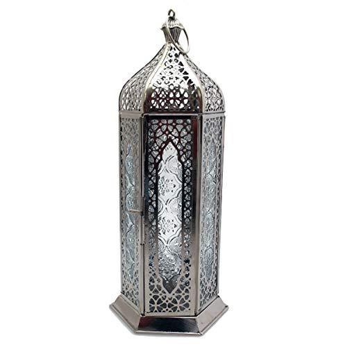 Deko Laterne Metall Silber Teelicht Orientalisch Zum Stellen und Hängen 28cm Gall&Zick