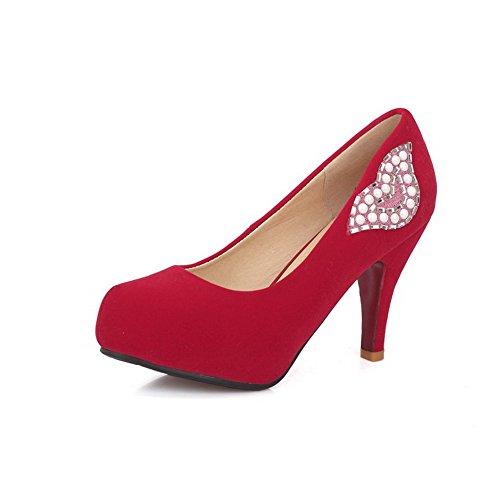 AllhqFashion Femme Couleur Unie Suédé à Talon Haut Tire Rond Chaussures Légeres Rouge