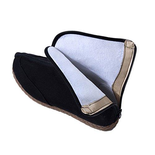 Meijunter Winter Hommes Antidérapant Chaussures plates en lin Chaud Bottes plates Chaussures chinoises Noir