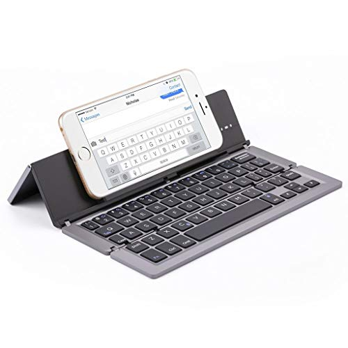 Bascar Foldable Bluetooth Keyboard Ultra Slim Portable Wireless Mini Keyboard with Stand and Ergonomic Design Compatible with Android Windows iOS Mini Muscles (Grau) -