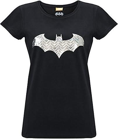 GOZOO Batman T-Shirt Damen Bat Foil Reflex 100% Baumwolle Schwarz XL