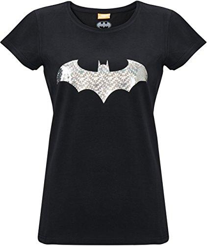 (GOZOO Batman T-Shirt Damen Bat Foil Reflex 100% Baumwolle schwarz L)