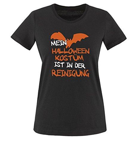 Comedy Shirts - MEIN HALLOWEEN KOSTÜM IST IN DER REINIGUNG VAMPIR - Damen T-Shirt Schwarz / Weiss-Orange Gr. (Kostüme College Vampir Halloween)