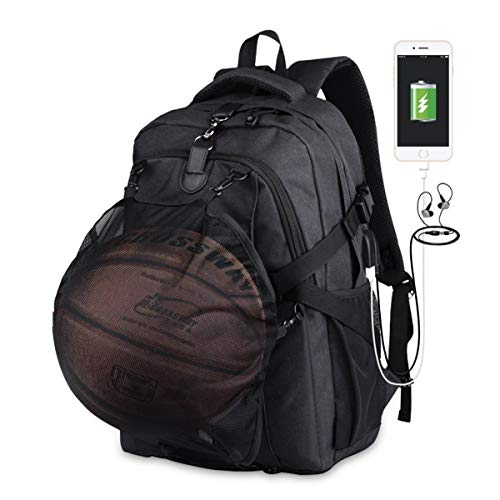 AUVSTAR Basketball Backpack, Football Backpack, Computer Backpack, Laptop Backpack with USB Port, Headphone Bag and Basketball Net for Women / Men (Black)