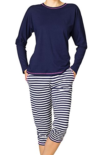 Calida smoothy stripes pantalon de pyjama pour femme Bleu - 459 evening blue