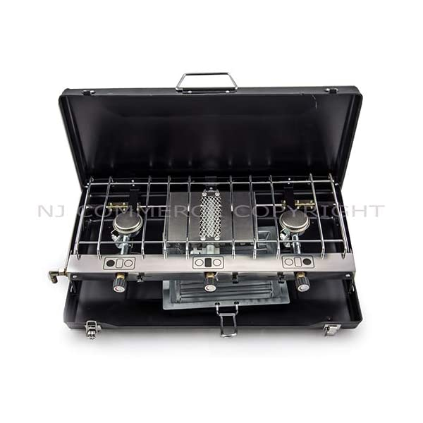 Foldable Double Gas Stove 2 Burner Camping Outdoor Dual Use Cooker Grill Case NEW 1