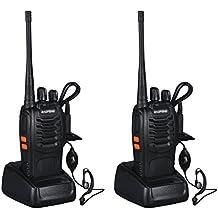 Walkie Talkie UHF 400-470MHz con Auriculares - BaoFeng 2 Vías de Radio 16 Canales Linterna LED Recargable 5W Transceptor FM Alcance Hasta 3km - Negro, 2 Unidades