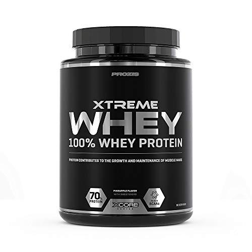Xcore Xtreme 100% Whey Protein Pulver 2kg - Verbessert das Wachstum und die Aufrechterhaltung der Muskelmasse - Vegetarische Ergänzung mit BCAA, Glutamin & Vitaminen - Ananasgeschmack - 60 Portionen -