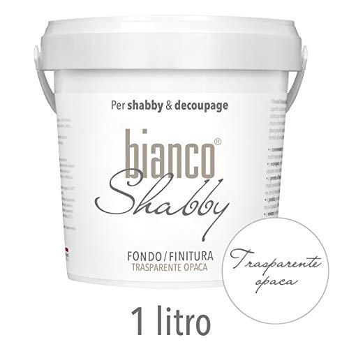 BIANCO SHABBY FONDO/FINITURA Universale per Vernici a Gesso Colore Trasparente Opaco (1 Litro)
