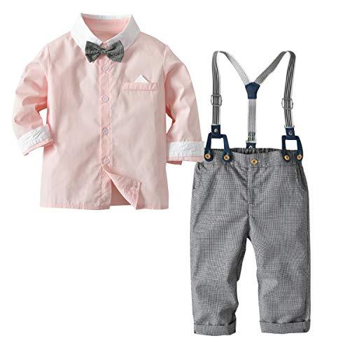 [Bekleidungsset Baby Junge] Hemd mit Fliege + Hose mit Träger Baumwolle Kleinkinder Set Gentleman Anzug Taufe Pink