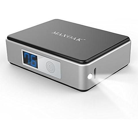 MAXOAK Mini Cargador Externo 5200mAh Portátil Batería Power Bank con LED Linterna y Pantalla Digitron Energía para Dispositivos Portátiles Iphone Samsung Galaxy Tabletas Más- Negro