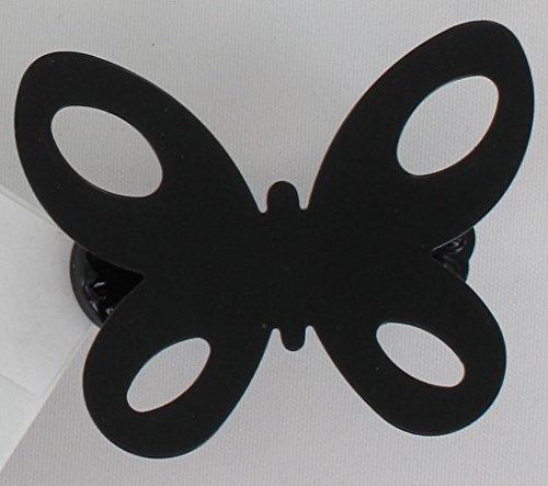 Pinces à voilages et rideaux métal, Embrasse aimantée, Embrasse métal souple, modèle et coloris au choix (Petites pinces Papillon (x2) Noir laqué pour voilages et rideaux 3001095)