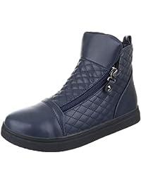 Ital-Design Stiefel & Boots Kinder Schuhe Biker Boots Mädchen Reißverschluss Stiefeletten