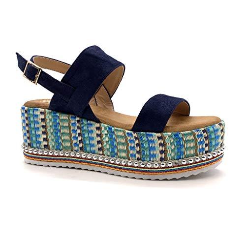 Angkorly - Scarpe Moda Sandali Espadrillas Vintage/retrò Grande Zeppe Comfortable Donna Tanga Perla Intrecciato Tacco Zeppa Piattaforma 7 CM - Blu Scuro 1311-2 T 37