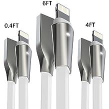 Cavo Lightning, Aimus Cavo USB Iphone Cavi Caricatore su USB con indicatore LED per iPhoneX / 8 / 8 Plus/ SE / 7 /7 Plus/ 6 / 6 Plus / 6s / 6s Plus / 5s / 5c / 5, iPad 2 3 4 Mini Air iPod iOS10 iOS11 etc[3PCS:0.15M+1.2M+1.8M-Bianca]