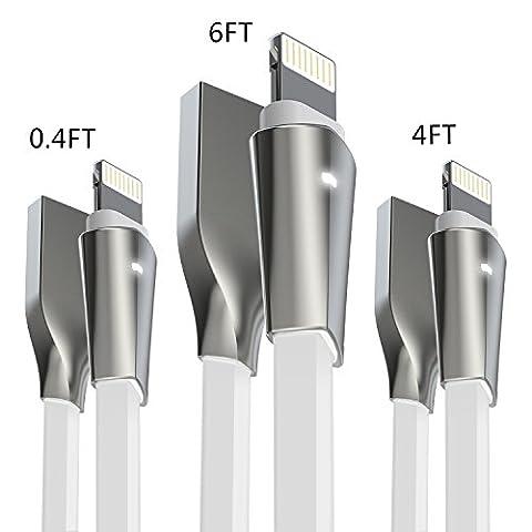Câble iPhone, Aimus [3 Pack] 0.15 m + 1.2 m + 1.8 m Zinc allié Lightning vers câble de chargement USB pour iPhone 7/7 Plus, iPhone 6/6s/6 Plus/6s Plus, iPhone 5/5S/5 C/SE, iPad Mini 2 3 4 Air iPod Ios10 et plus (Blanc)