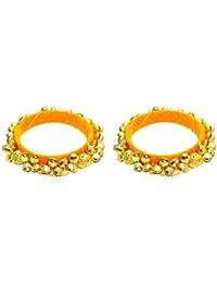 FashBlush Orange Handmade Ethnic Ghungroo Bangle Set Size 2.6 (Set Of 2)