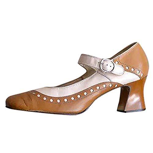 Damen Sandalen Heels, PU Leder Oxfords Brogue Schnalle Knöchelriemen Vintage Mary Jane Schuhe Chunky High Block Heel Kleid Pumps Plus Size für Frauen - Aerosoles Leder Braun