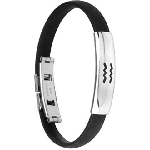 Andonger Silicone nero acciaio inossidabile 316 zodiacale Acquario Rune Stampato braccialetto dei braccialetti monili unici, 101.210