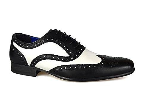 Red Tape Gatsby Herren Leder Formale Brogue Schwarz/Weiß Stilvolle Schuhe,