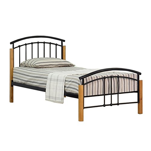 Comfy Living 3ft Single Classic Style Metal with Wooden Detail Bed Frame in Black