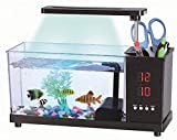 USB Desktop Mini Fish Tank LED Desk Lamp Pen Holder Small Ornamental Ecological Aquarium.