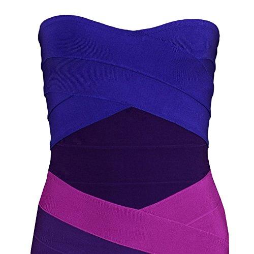 HLBandage Women's Sexy Strapless Mini Bodycon Bandage Dress Gradiente viola