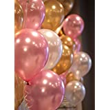 Pick Indiana Birthday Party Metallic Balloon HD Combo Of 3 Colors - Gold, White & Pink (Pack of 50)