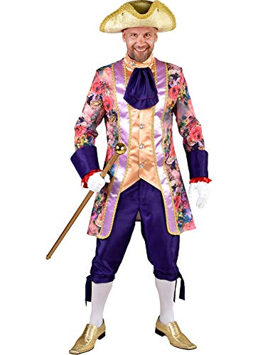 (M219270-L bunt-lila Rosen Herren Rokoko Anzug Kostüm Marquis Prinz Gr.L=56)