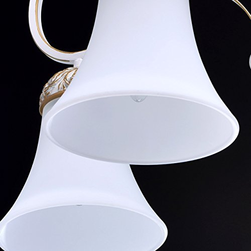 Kronleuchter weiß und gold Metall klassisch antik mattweiße Glasschirme - 7