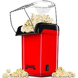 Gadgy ® Machine à Pop-Corn à Air Chaud Rapide l En bonne santé, sans Huile ni Graisse l Avec une Tasse à Mesurer et Couvercle Supérieur Amovible l Édition Rétro Rouge