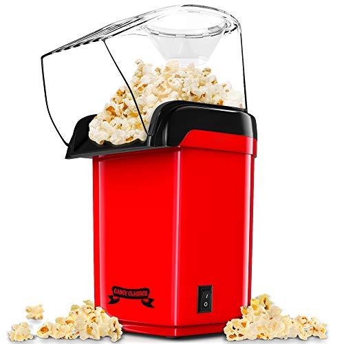 Gadgy ® Schnelle Heißluft Popcornmaschine l Gesund, Ölfrei/Fettfrei l Mit Messbecher und abnehmbare obere Abdeckung l Retro Rot Auflage