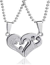 Edelstahl Partner Kette - I Love You - Silber Herrenkette, Damenkette - Liebe, Love, Patnerschaft, Beziehung, Geschenk Zirkonia