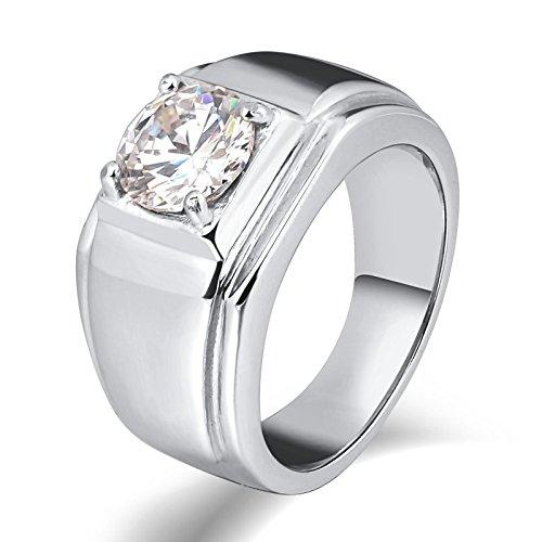 LOUMVE Edelstahl Ring Herren Mit Gravur Rundschliff Weiß Zirkonia Rechteck Silber Trauringe Titan Verlobungsring Größe 57 (18.1) (Trauringe Camo Herren Titan)